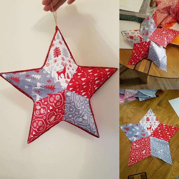 Papierstern falten, rote und graue Spitzen mit verschiedenen weihnachtlichen Motiven