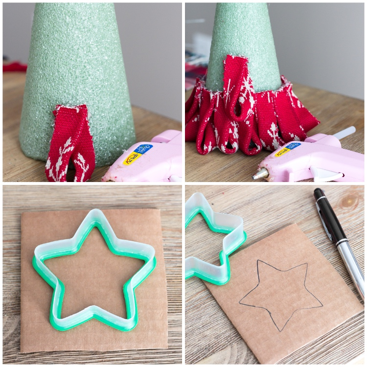 stück pappe, kegel aus schaumftoff, weihnachtssterne basteln, form aus kunststoff, diy