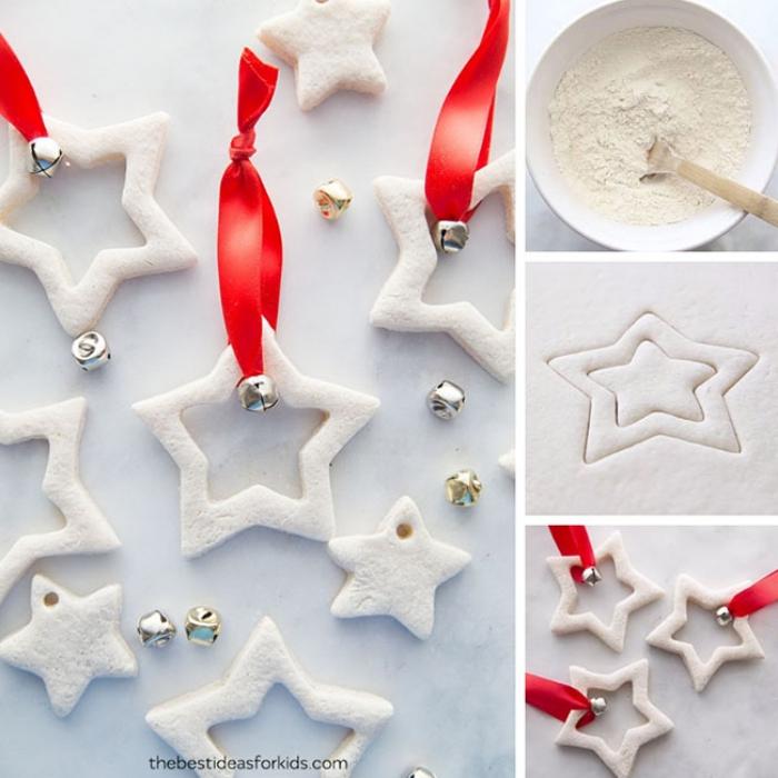 weihnachtssterne basteln, schüssel mit mehl, hölzerne löffel, rote schleife, glocken