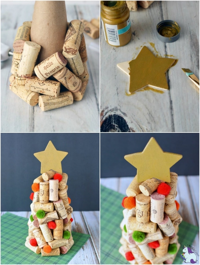 weihnachtstischdeko basteln, diy anleitung, stern gold färben, tannenbaum aus weinkorken