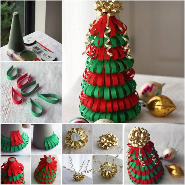 weihnachtstischdeko basteln, schwammtüte dekorieren, rote und grüne papierstreifen, goldene schleife