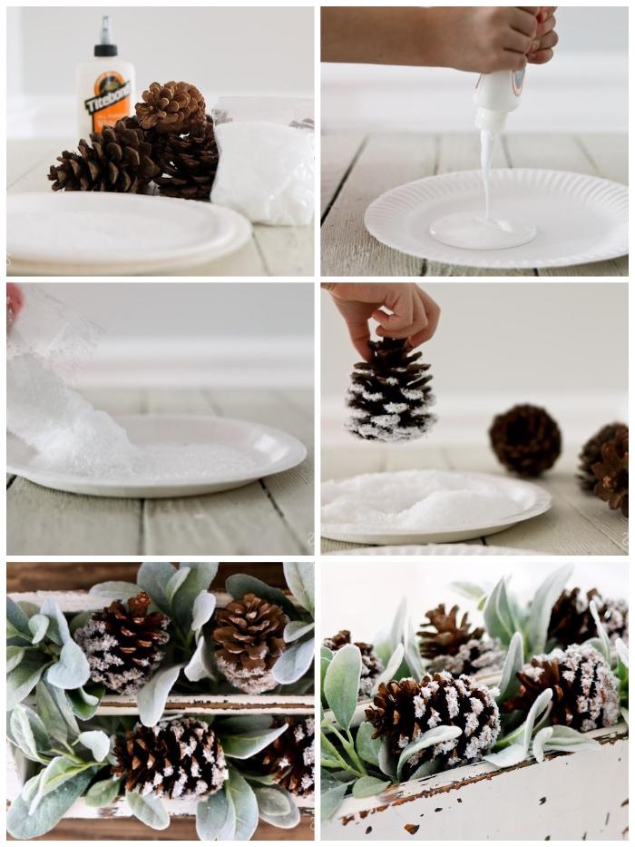 weißer papierteller, weihnachtstischdeko basteln, tannenzapfen mit klebstoff und kunstschnee dekorieren
