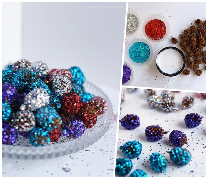 schale aus glas, mini tannenzapfen, selbstgemachte weihnachtstischdeko, brokatt