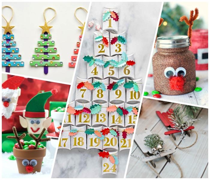 weihnachtsbasteln mit kindern, tannenbäume aus holzstäbchen, blumentopf hirsch, diy bastelideen