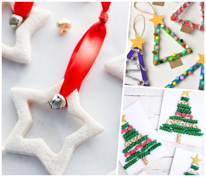 rote schleife, weißer stern, weihnachtsbasteln mit kidnern, weihanchtskarten diy
