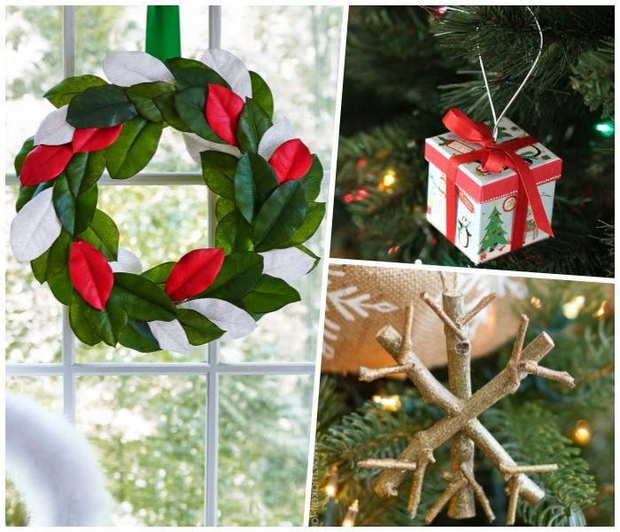 weihnachtsdeko selber machen, weihnachtskugel geschenkbox, kranz aus großen blättern