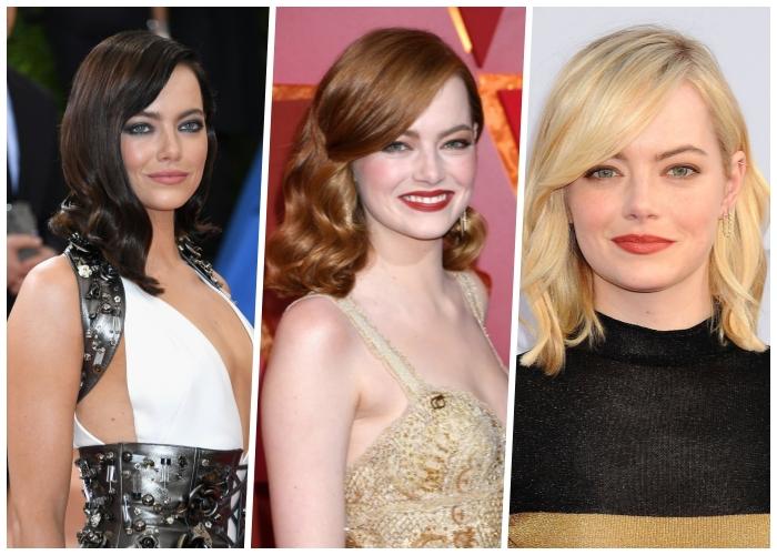 welche haarfarbe passt zu mir, emma stone, haare färben, make up tipps für braune augen