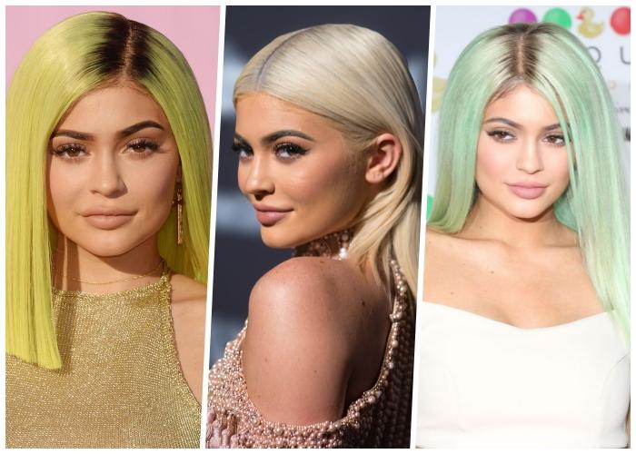 welche haarfarbe passt zu mir, glatte pastellfarbene haare, kylie jenner, platinblonde mähne