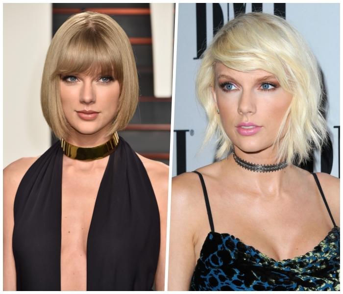 taylor swift, welche haarfarbe passt zu mir, blonde nunancen, frisur mit ponny, kurzhaarfrisuren