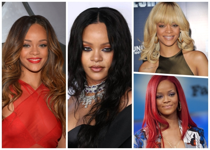 welche haarfarbe steht mir, rihanna frisuren, haare färben ideen, trendige haarshcnitte