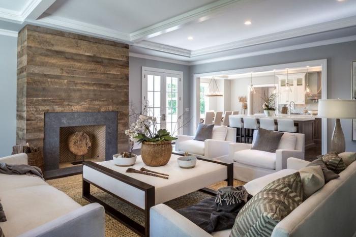 wand mit holzdielen motiv, wohnung deko in skandinavischem stil, küche und wohnzimmer in einem