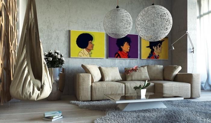 wohnzimmer deko, runde pendelecuthen, grauer flauschiger teppich, drei bilder als wanddeko