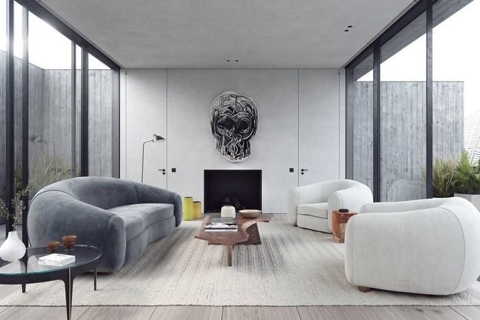 wohnzimmer deko ideen, designer sitzmöbel, silberne wanddeko in der form von schädel