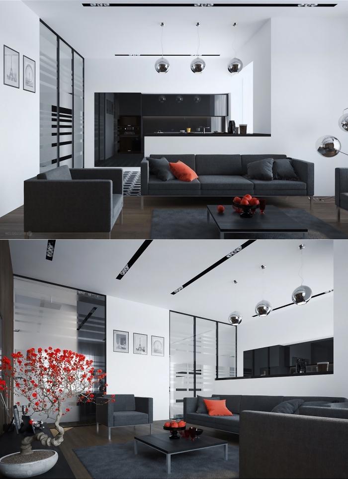 wohnzimmer deko in orange, einrichtung in wieß und schwarz, kleiner baum, küche und wohnzimmer in einem