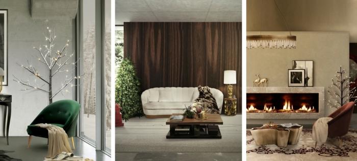 großer sessel, baum mit beleuchtung, wohnzimmer eirncihten ideen, elektrischer kamin
