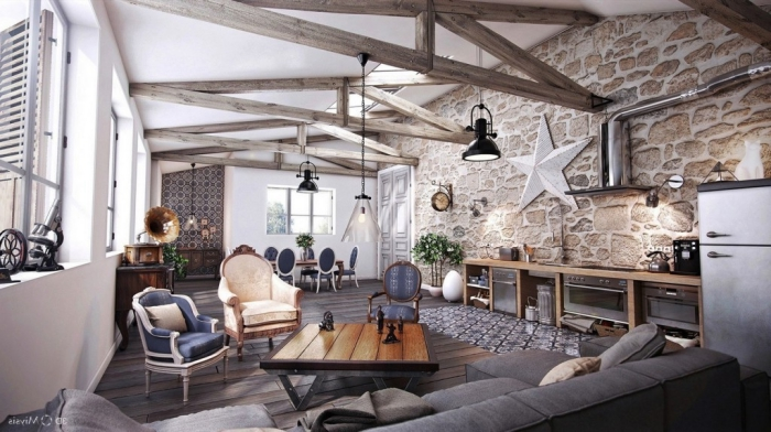 wand mit ziegel motiv, wohnzimmer einrichten ideen, einrichtung im skandinavischem stil