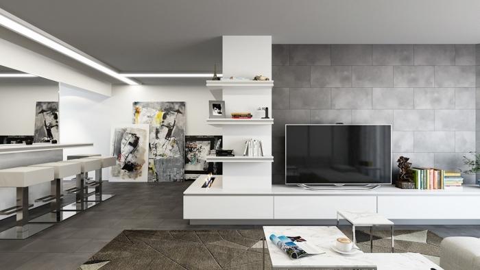 wohnzimmer einrichten ideen, einrichtung in grau und weiß, abstrakte bilder als deko, graue betonziegelwand