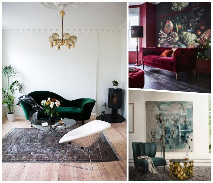 wohnzimmer gestalten, deisgner möbel, smaragdgrünes samtsofa, goldener kronleuchter, großes bild