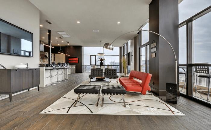 wohnzimmer gestalten, silberne lampe, rotes sofa, teppich mit geometrischen motiven, küche und wohnzimmer in einem