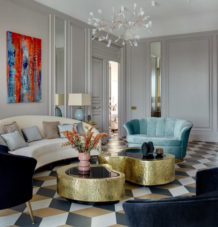 wohnzimmer ideen, desginer möbel, goldene kaffeetische dekoriert mit vasen mit blumen, wanddeko bild