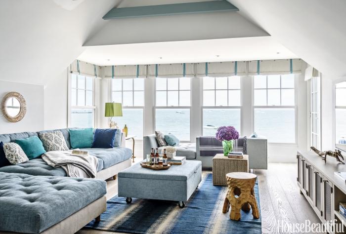 wohnzimmer ideen, einrichtung in maritimem stil, wohnzimmergestaltung in weiß und blau