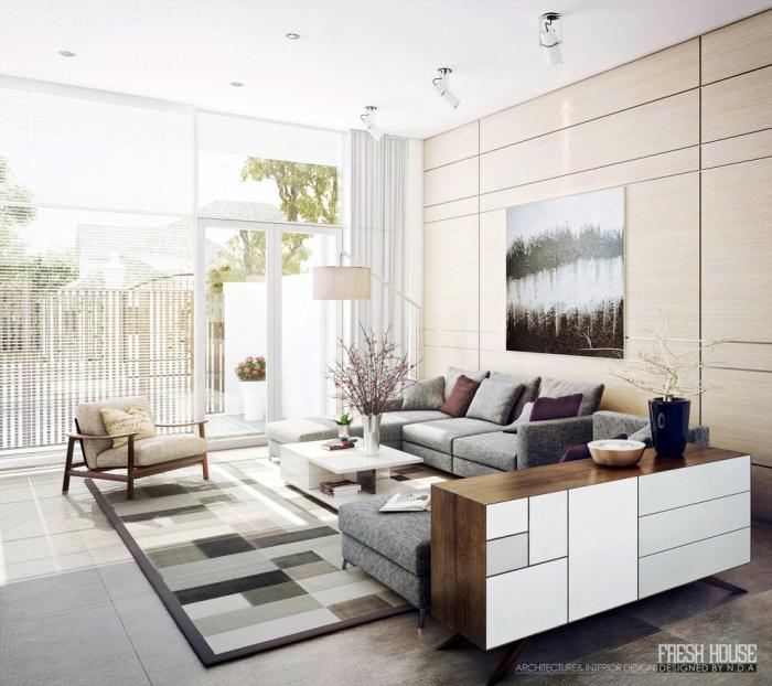 wände in hellen farben, teppich mit geometrischen motiven, wohnzmmer ideen für kleine räume