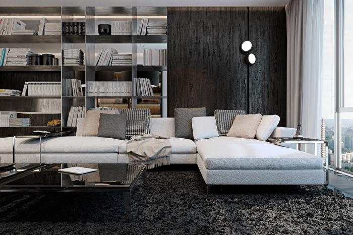 wohnzimmer ideen modern, schwarzer flauschiger teppich, regale mit bücher, wandleuchten