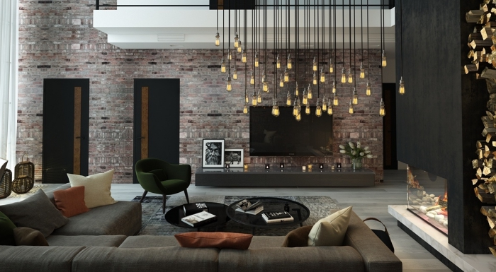wohnzimmer ideen modern, große ziegelwand, schwarze kaffeetische set, händende lampen