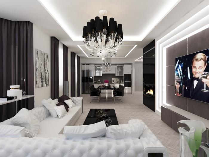 großer kronleuchter, wohnzimmer ideen, moderne einrichtung in wieß und schwarz, wand mit led beleuchtung