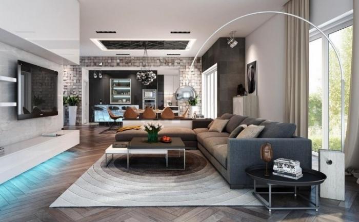 wohnwand mit blauem led licht, wohnzimmergestaltung in grau, wohnzimmer und küche in einem