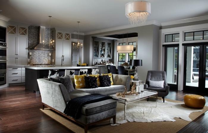 wohnzimmer und küche in einem, wohnzimmergestaltung in grau, ideen für kleine räume