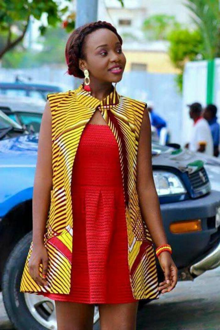 dekostoffe meterware, rotes kleid mit gelbem oberteil kombinieren, trendy in afrikanischem styling