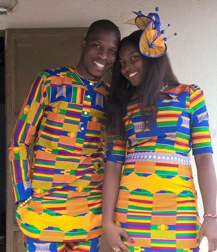 stoffe kaufen online, idee für coupleoutfits, ein schönes liebespaar mann und frau tragen die gleiche kleidung, bunte muster, afro mode