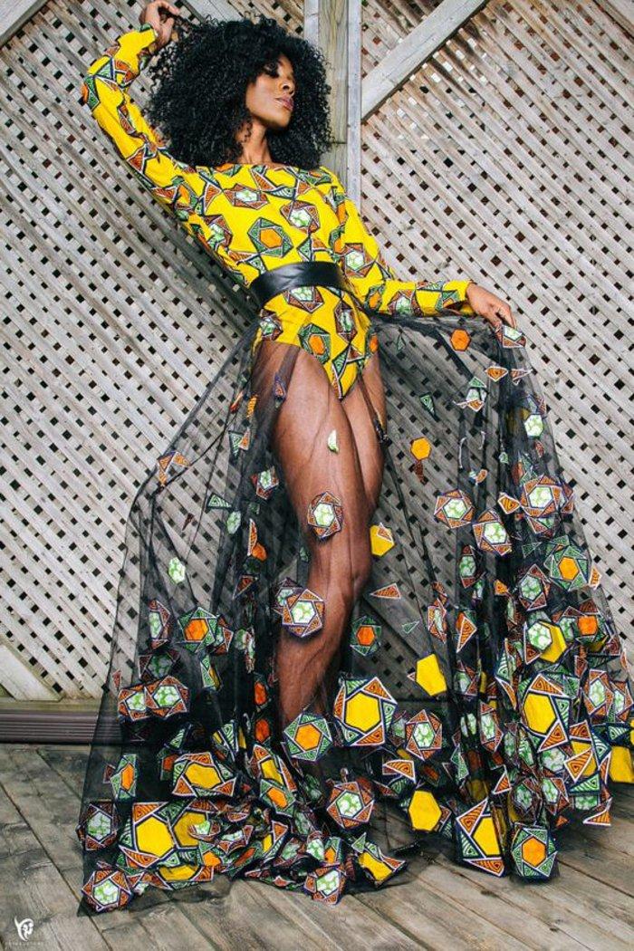 afrikanische muster und stoffkombinationen, tüll mit baumwolle body design in gelb kombi mit schwarzem tüllrock