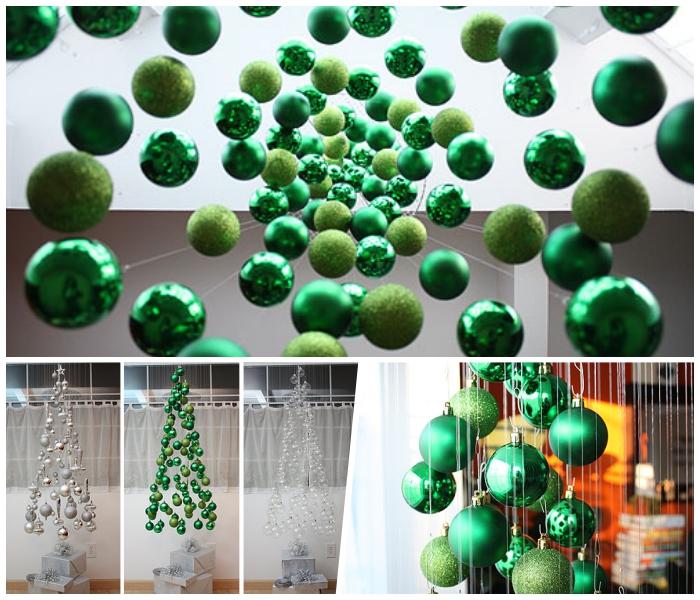 alternativer weihnachtsbaum selber basteln, grüne weihnachtskugeln, diy
