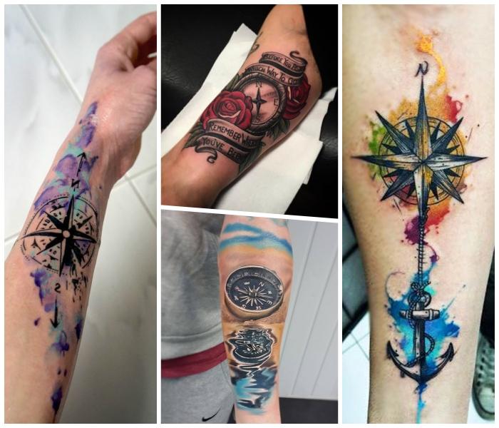 anker tattoo bedeutung, bunte wasserfarben, 3d tätowierung am arm, rote rosen
