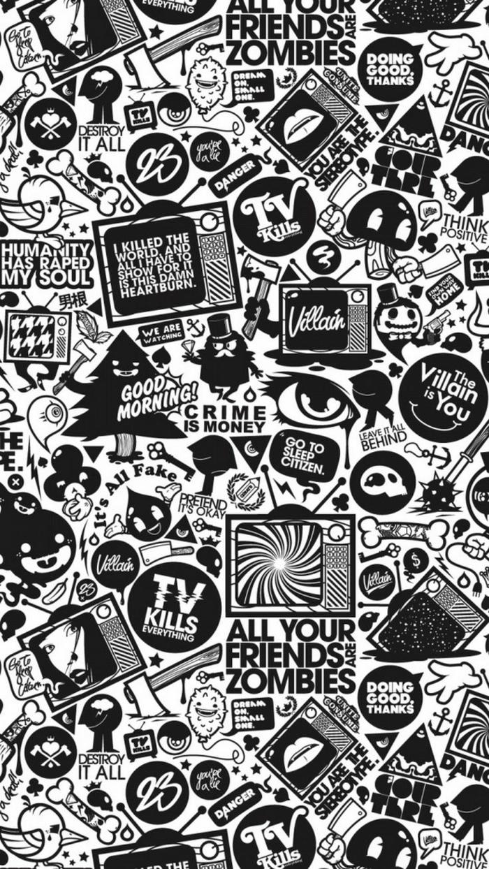 handy wallpaper, schwarz weiß cartoons, schrifte, fernsehen ideen, swag bilder collage