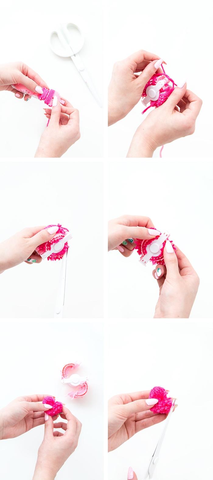 Bommel selber machen, Herz formen, selbstgemachte Ohrringe zu Weihnachten schenken