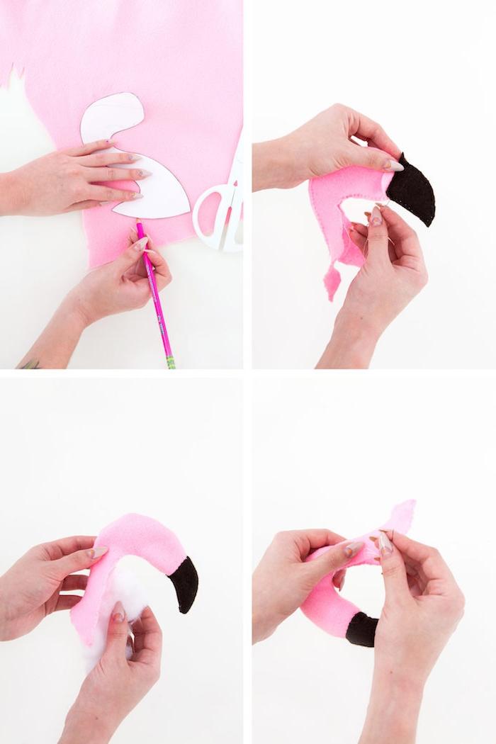 Flamingo Pantoffeln selber nähen, DIY Anleitung in vier Schritten, originelle Weihnachtsgeschenke selber machen