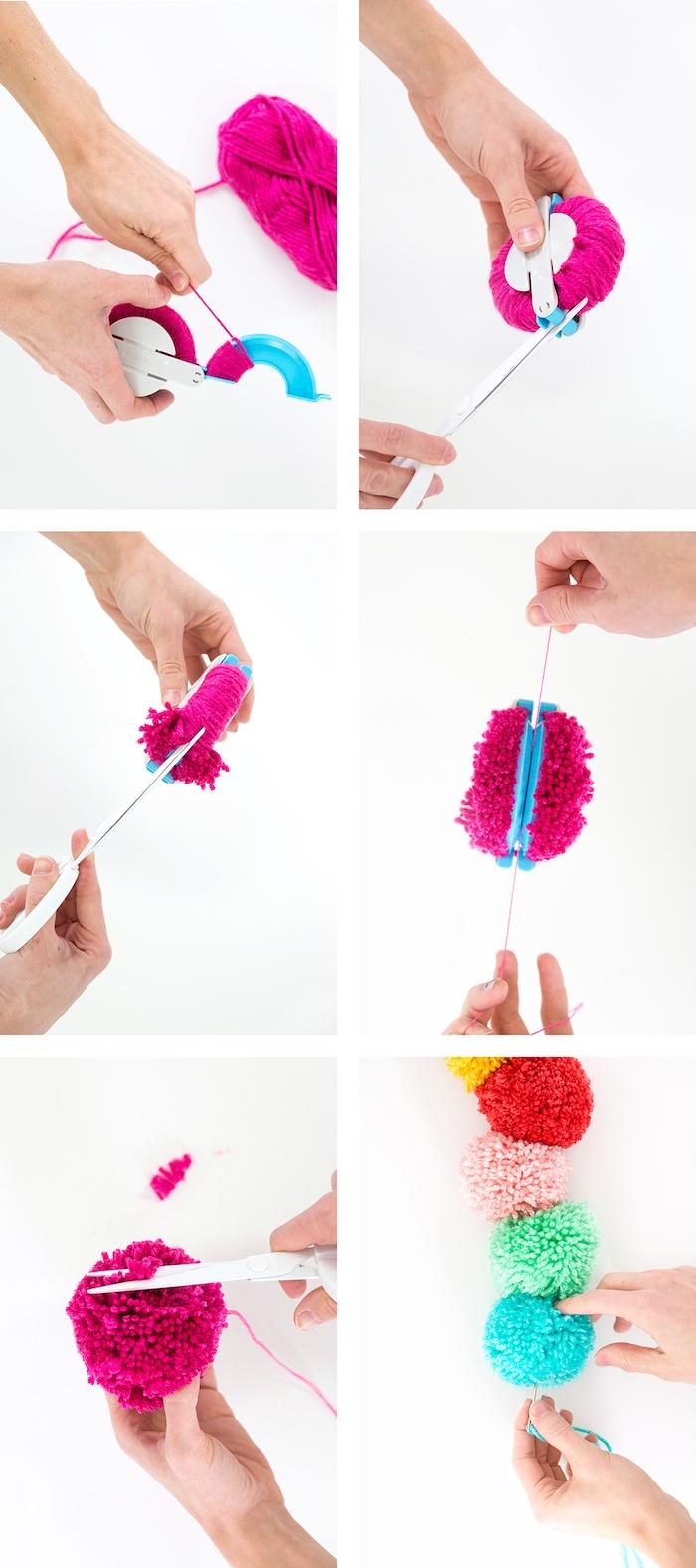 Kreatives Weihnachtsgeschenk selber machen, Schal aus bunten Bommeln zu Weihnachten schenken