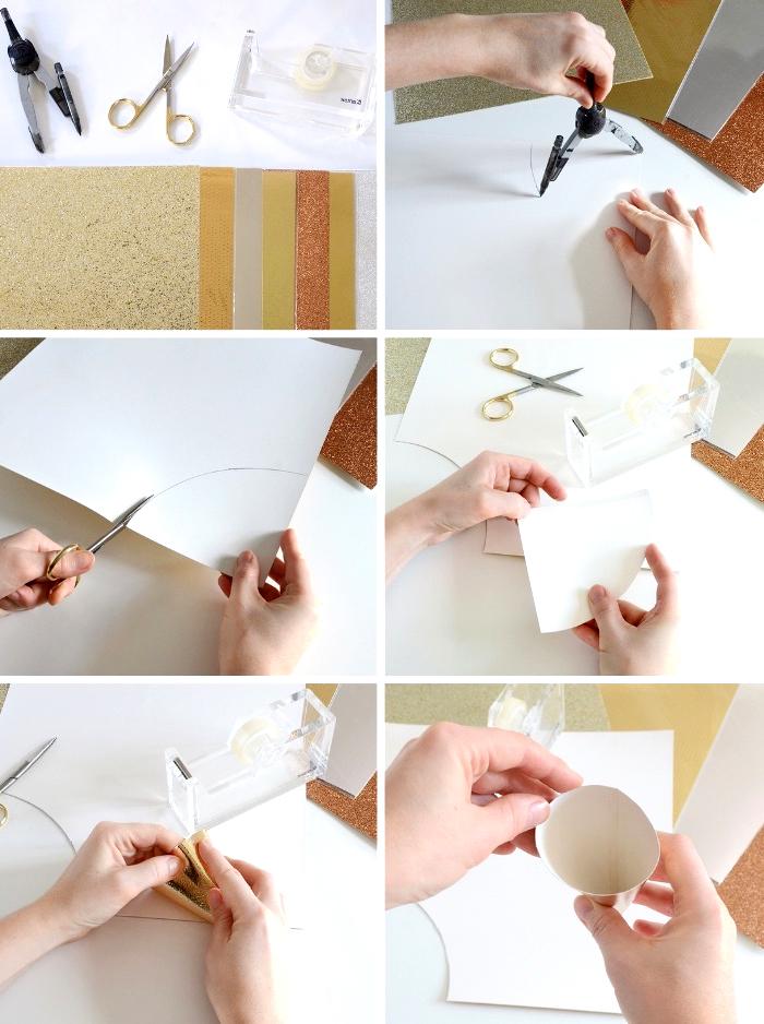 bastelanleitung tannenbaum aus papier falten, kegel selber machen, kreis zeichnen