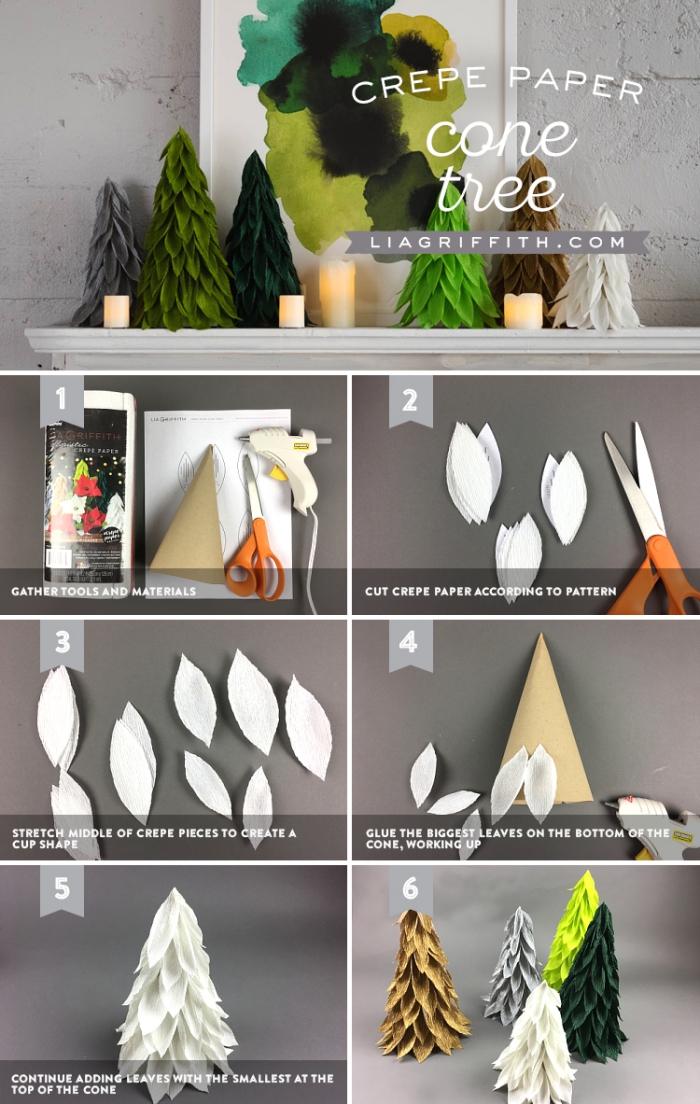 diy deko zu weihnachten, bastelanleitung tannenbaum aus papier falten, collage