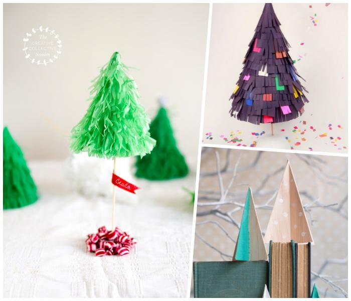 lila papier, christbäume aus holz, bastelanleitung tannenbaum aus papier falten