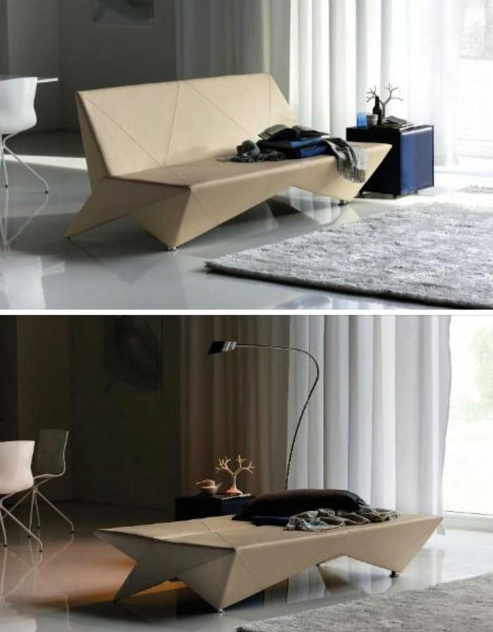 bett aus pappe, collage, sofa bettdesign, funktionelle möbel, teppich grau, blauer hocker