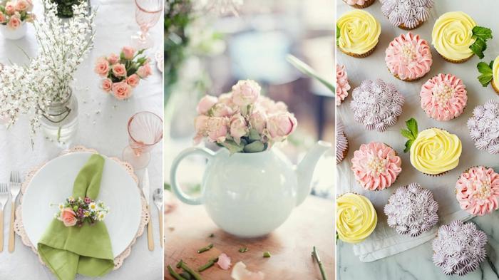 bunte Tischdeko mit rosa Blumen, Cupcakes mit bunten Creme wie Blumen, Geburtstagsdeko