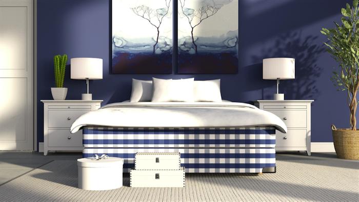 Das passende Boxspringbett für ein modernes Interieur, Schlafzimmer in Blau und Weiß