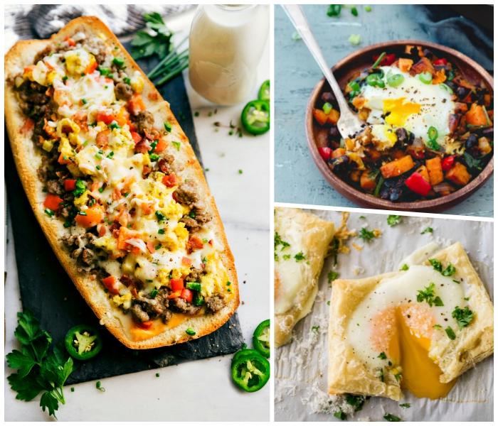 brunch rezepte, große baguetta gefüllt mit fleisch, gemüse und käse, blätterteig mit eiern