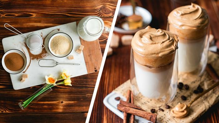 brunch rezepte, leckere kaffeegetränke, getränke mit milch und kaffeecreme