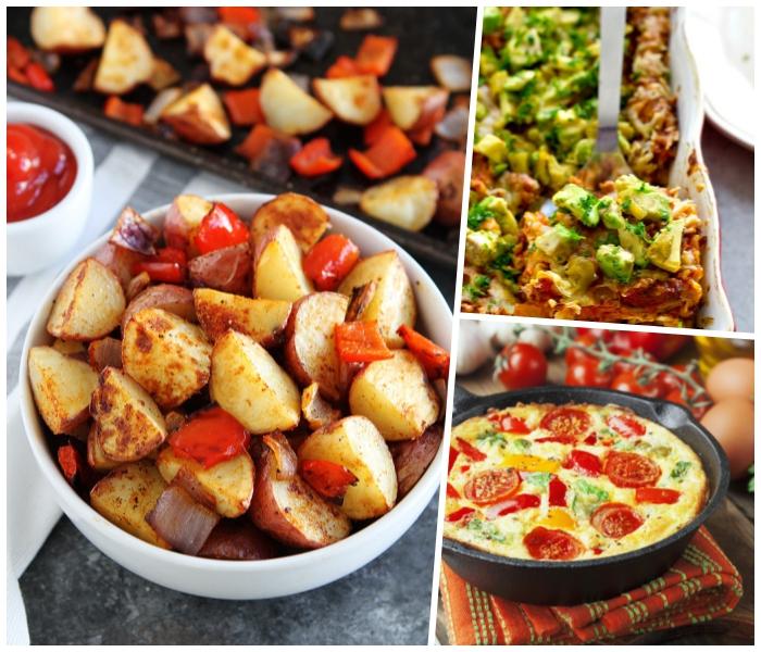 brunch rezepte, schüssel mit kartoffeln, roter paprika, schwarze pfanne, omelette