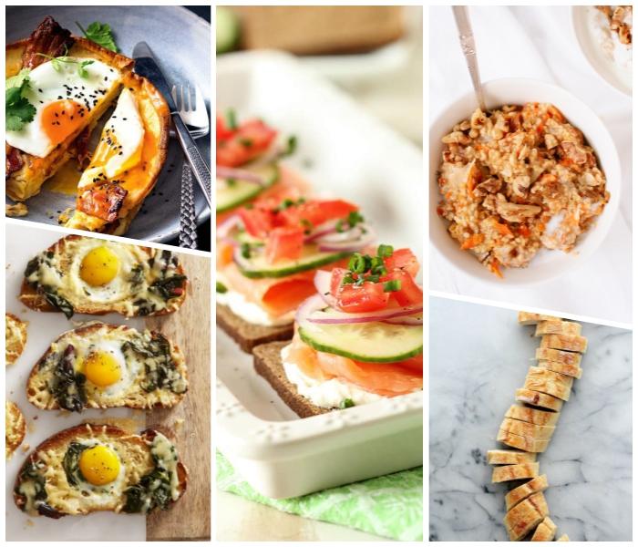 brunch rezepte, weiße schale, gesund essen, brotscheiben mit eiern und spinat, geschnittene baguetta